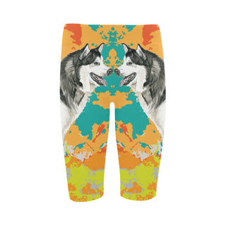 Alaskan Malamute Water Colour No.2 Hestia Cropped Leggings - TeeAmazing