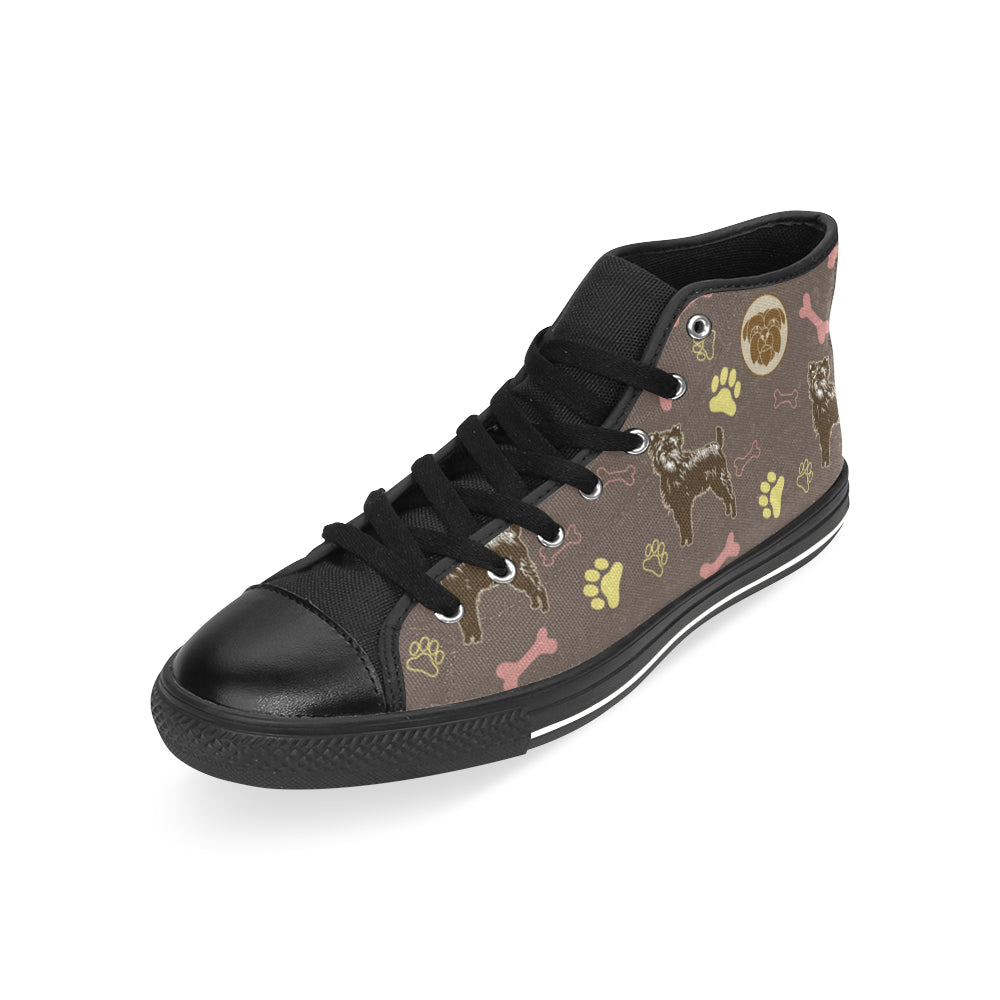 Affenpinschers Pattern Black Men's Classic High Top Canvas Shoes /Large Size - TeeAmazing