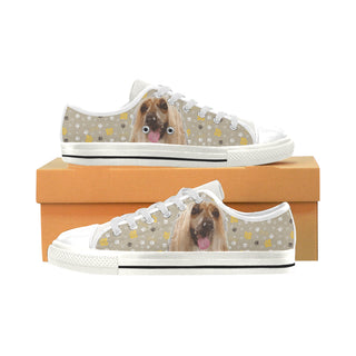 Afghan Hound White Low Top Canvas Shoes for Kid - TeeAmazing