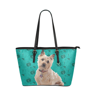 Cairn terrier Leather Tote Bag/Small (Model 1651) - TeeAmazing