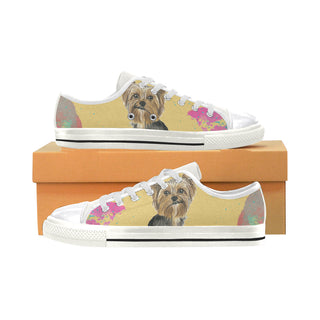 Yorkshire Terrier Water Colour No.1 White Women's Classic Canvas Shoes (Model 018) - TeeAmazing
