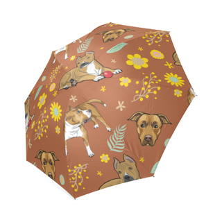 American Staffordshire Terrier Flower Foldable Umbrella - TeeAmazing