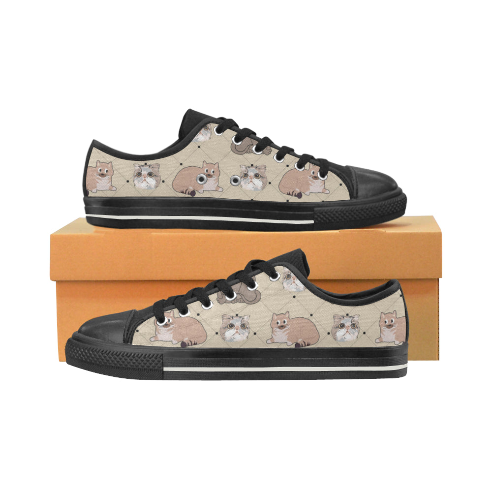 Exotic Shorthair Black Low Top Canvas Shoes for Kid (Model 018) - TeeAmazing