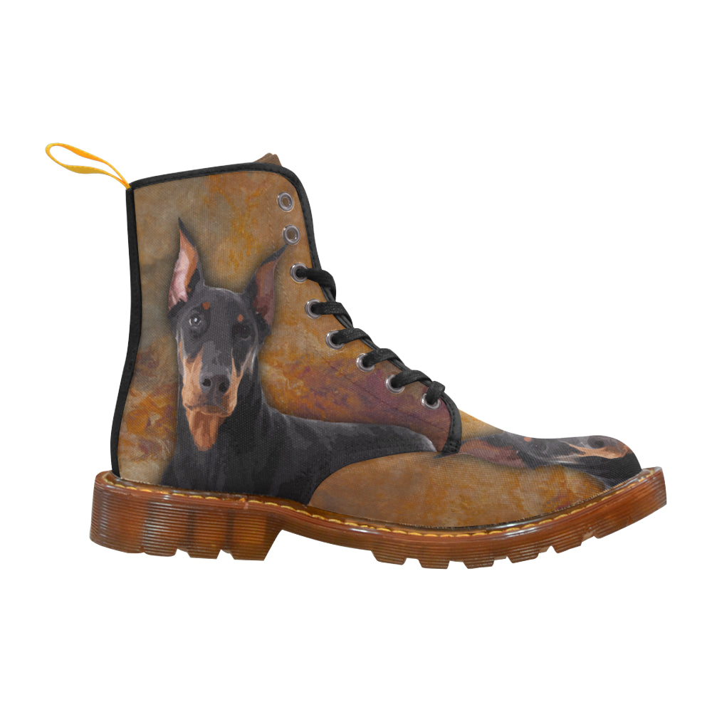 Doberman Pinscher Portrait Black Boots For Women - TeeAmazing