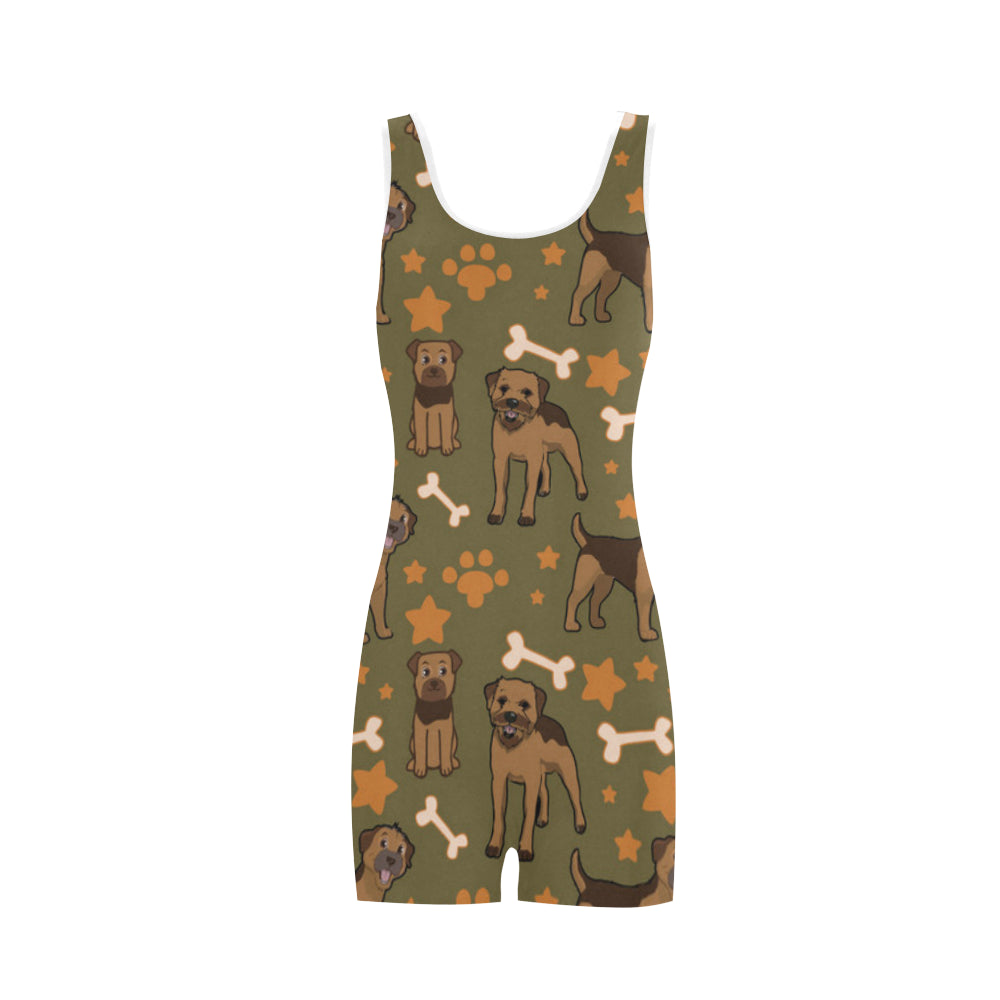 Border Terrier Pattern Classic One Piece Swimwear - TeeAmazing