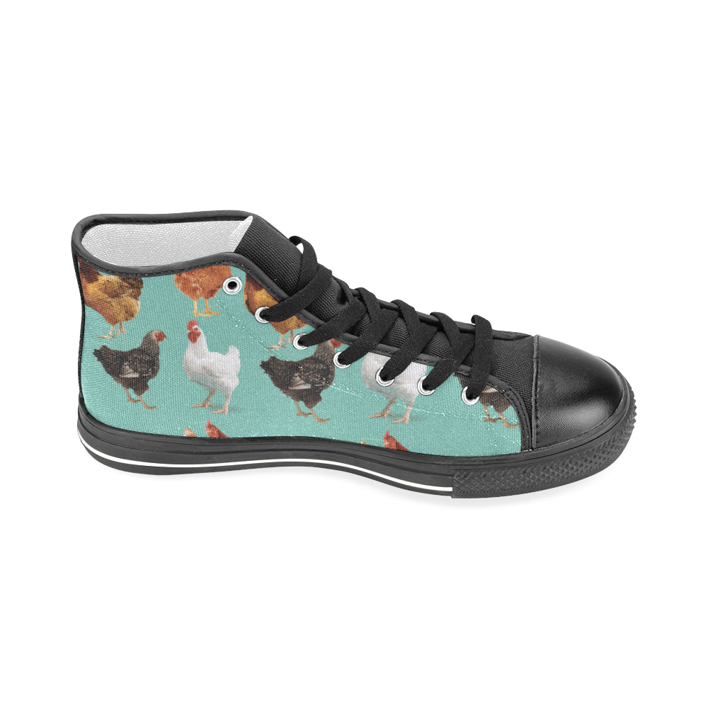 Chicken Pattern Black Men's Classic High Top Canvas Shoes - TeeAmazing