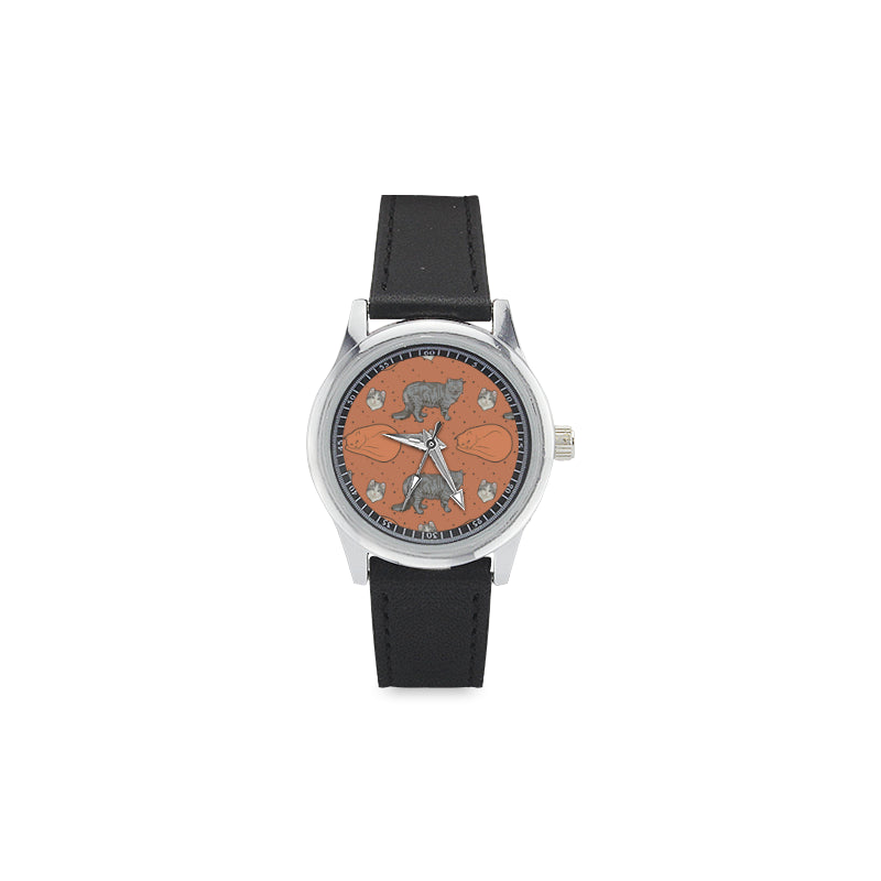 American Curl Kid's Stainless Steel Leather Strap Watch(Model 208) - TeeAmazing