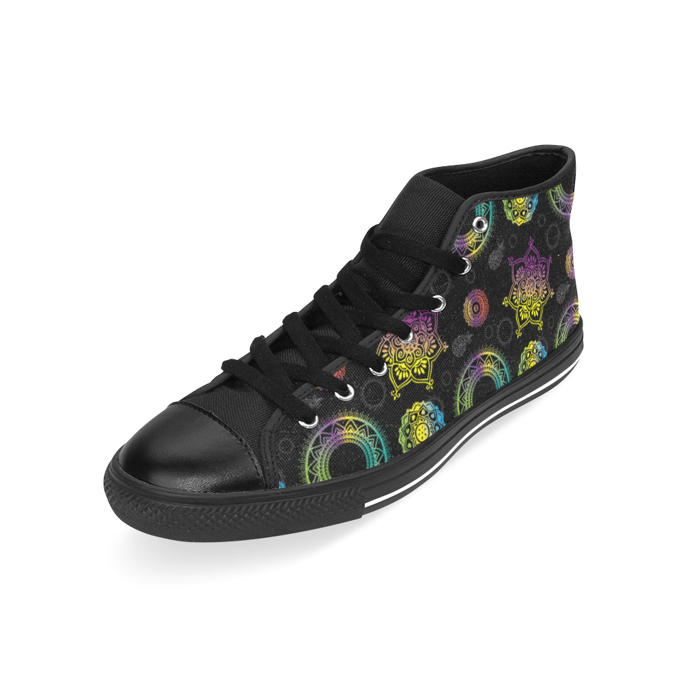 Chakra Black Men's Classic High Top Canvas Shoes /Large Size - TeeAmazing