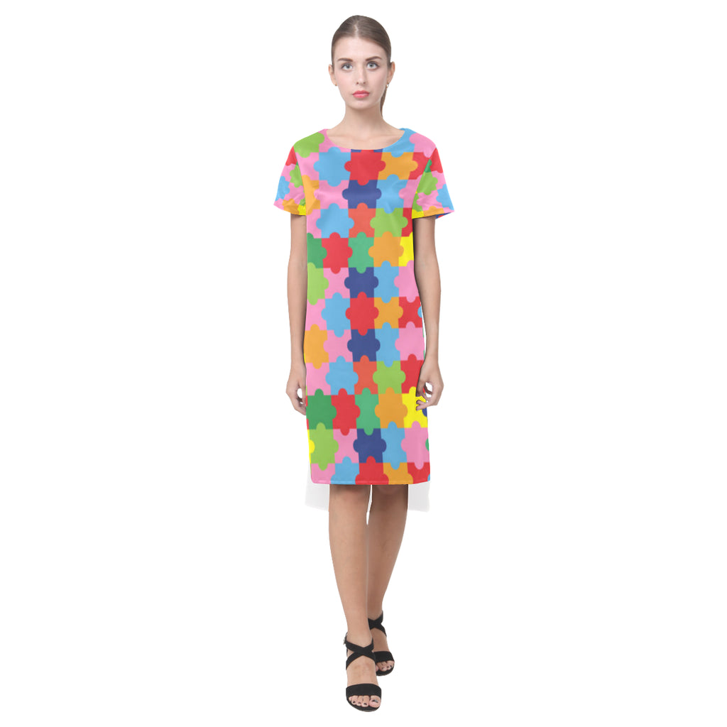 Autism Short Sleeves Casual Dress - TeeAmazing