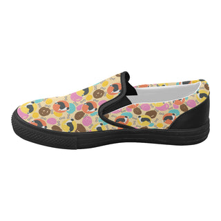 Border Collie Pattern Black Women's Slip-on Canvas Shoes (Model 019) - TeeAmazing