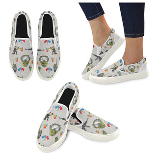 Paintball White Women's Slip-on Canvas Shoes - TeeAmazing