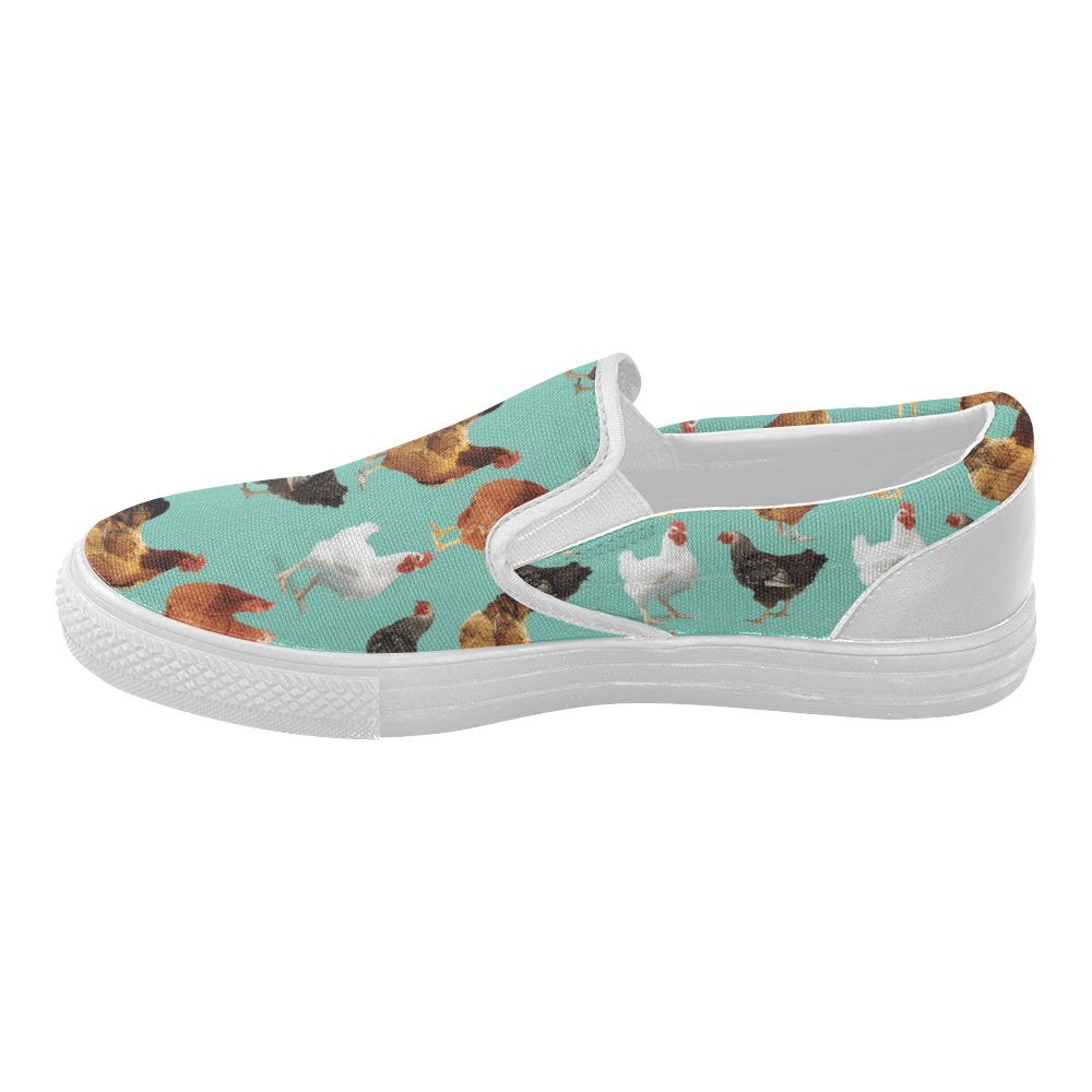 Chicken Pattern White Women's Slip-on Canvas Shoes - TeeAmazing
