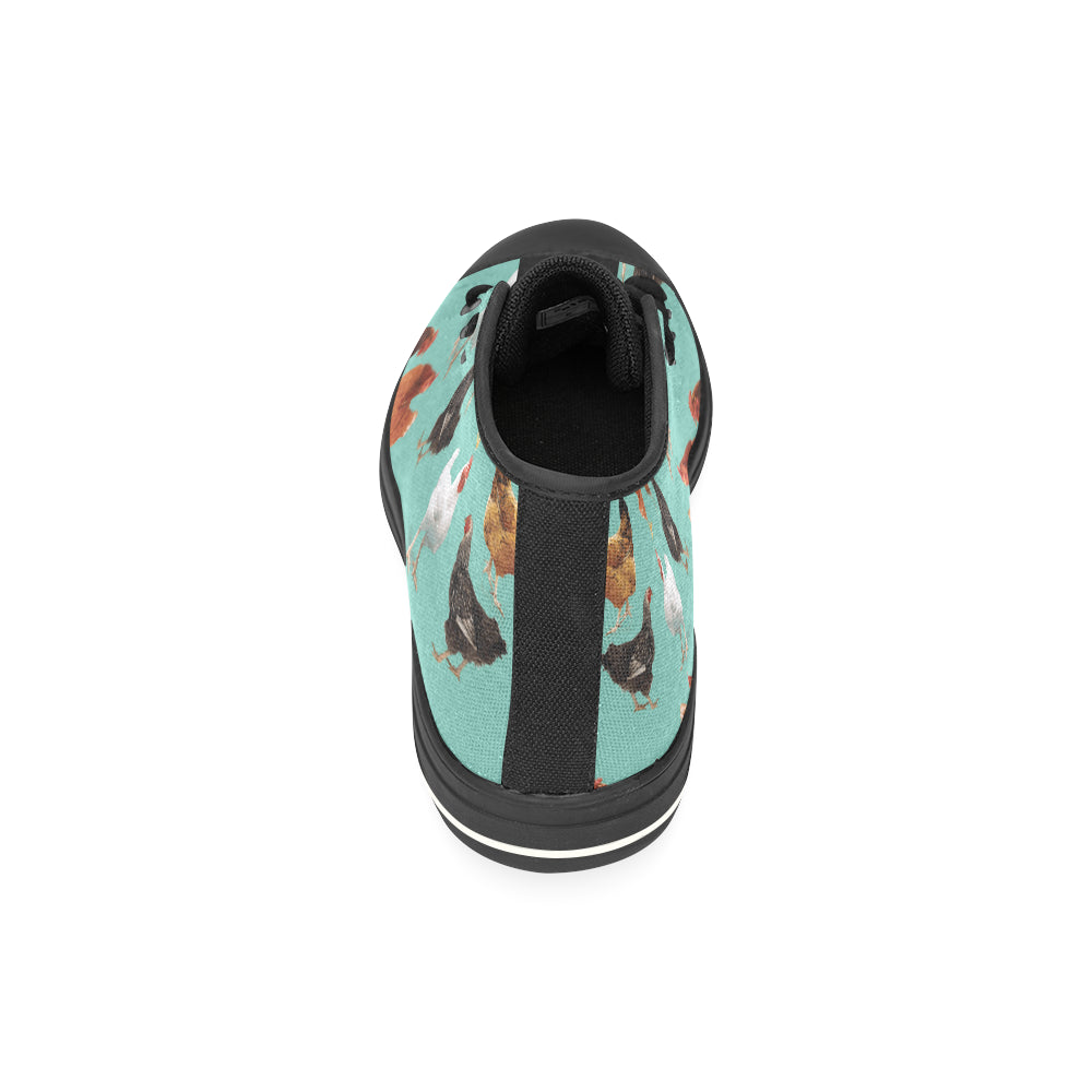 Chicken Pattern Black High Top Canvas Shoes for Kid - TeeAmazing