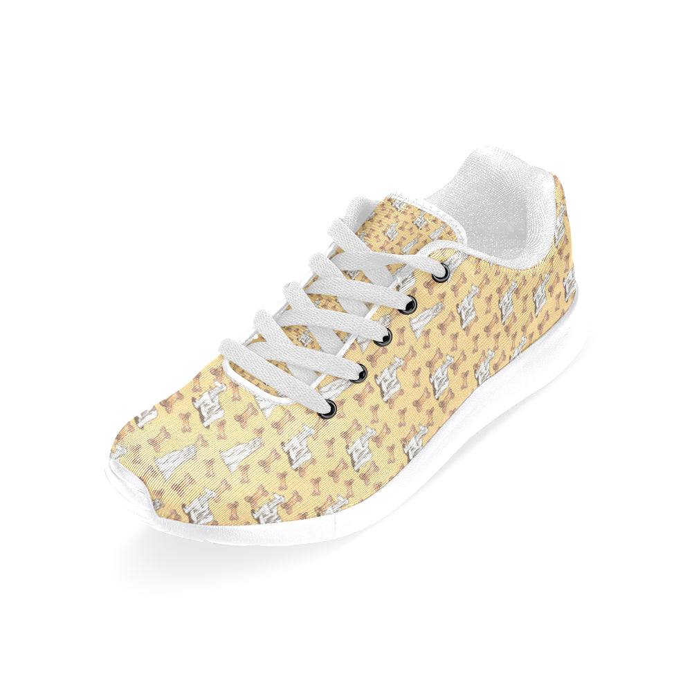 Afghan Hound Pattern White Sneakers for Women - TeeAmazing