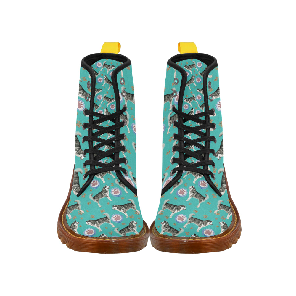 Alaskan Malamute Water Colour Pattern No.1 Black Boots For Men - TeeAmazing