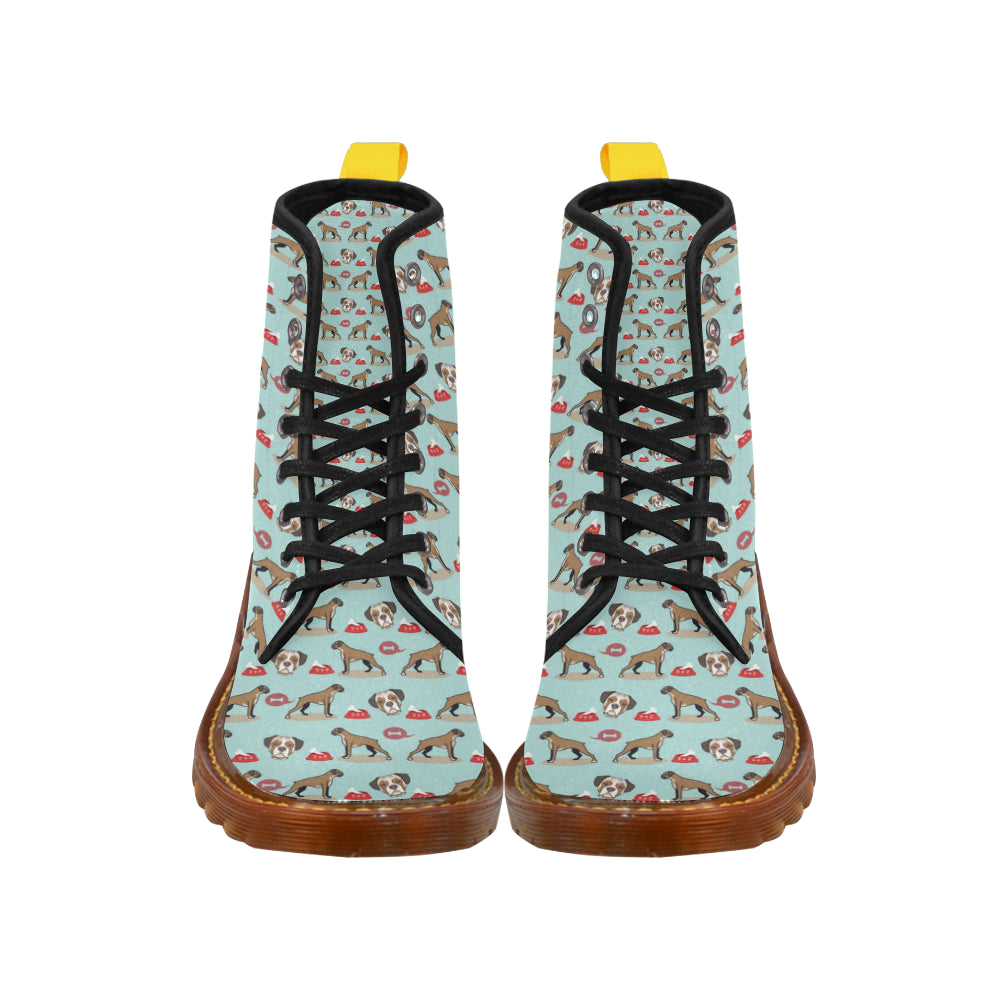 Boxer Pattern Black Boots For Women - TeeAmazing