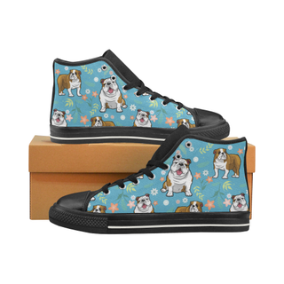 English Bulldog Flower Black High Top Canvas Women's Shoes/Large Size (Model 017) - TeeAmazing