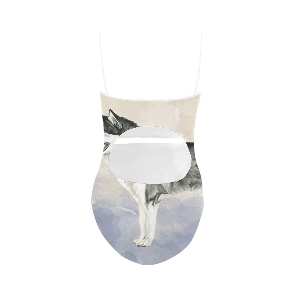 Alaskan Malamute Water Colour Strap Swimsuit - TeeAmazing