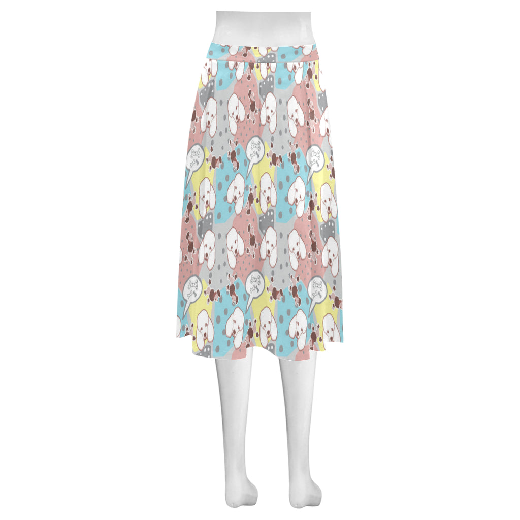 Poodle Pattern Mnemosyne Women's Crepe Skirt - TeeAmazing