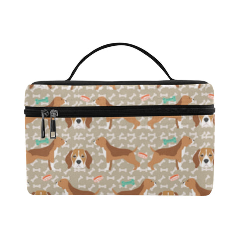 Beagle Pattern Cosmetic Bag/Large (Model 1658) - TeeAmazing