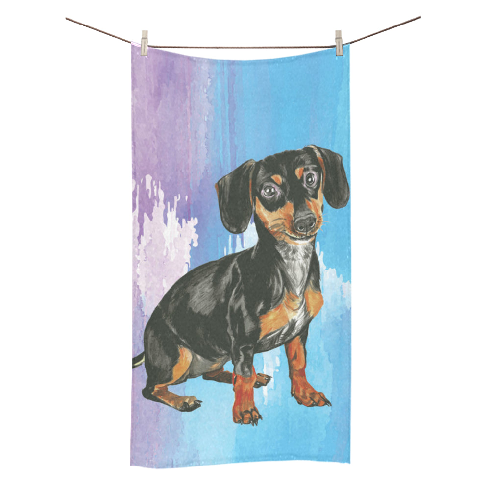 "Dachshund Water Colour No.1 Bath Towel 30""x56"" - TeeAmazing"