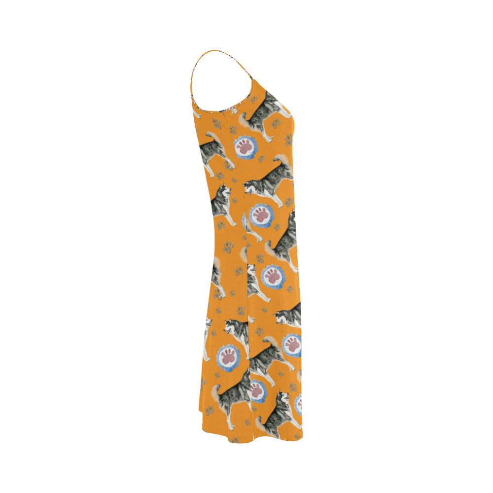 Alaskan Malamute Water Colour Pattern No.2 Alcestis Slip Dress - TeeAmazing