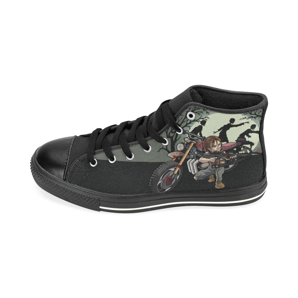 Daryl Dixon Black High Top Canvas Shoes for Kid - TeeAmazing