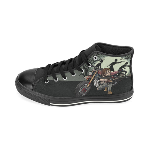 Daryl Dixon Black High Top Canvas Shoes for Kid (017) - TeeAmazing