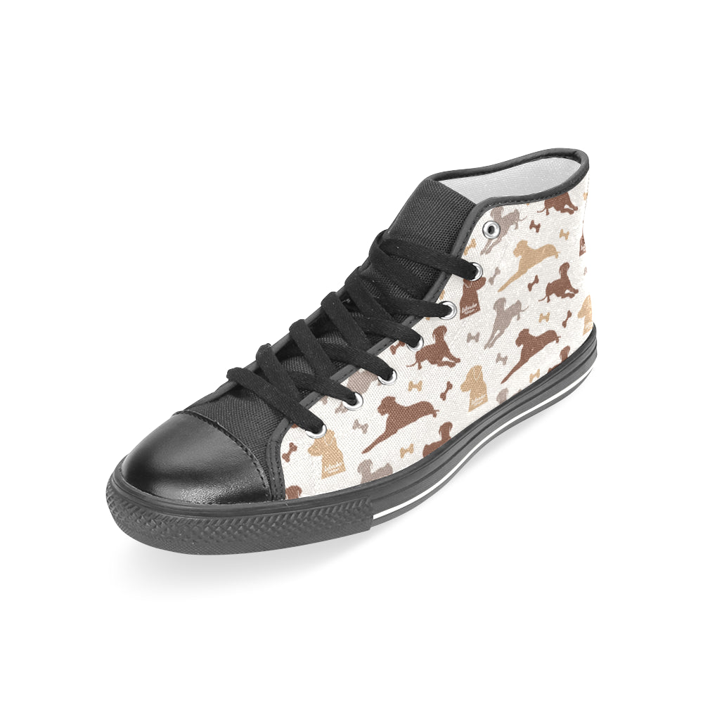 Labrador Retriever Pattern Black Women's Classic High Top Canvas Shoes - TeeAmazing