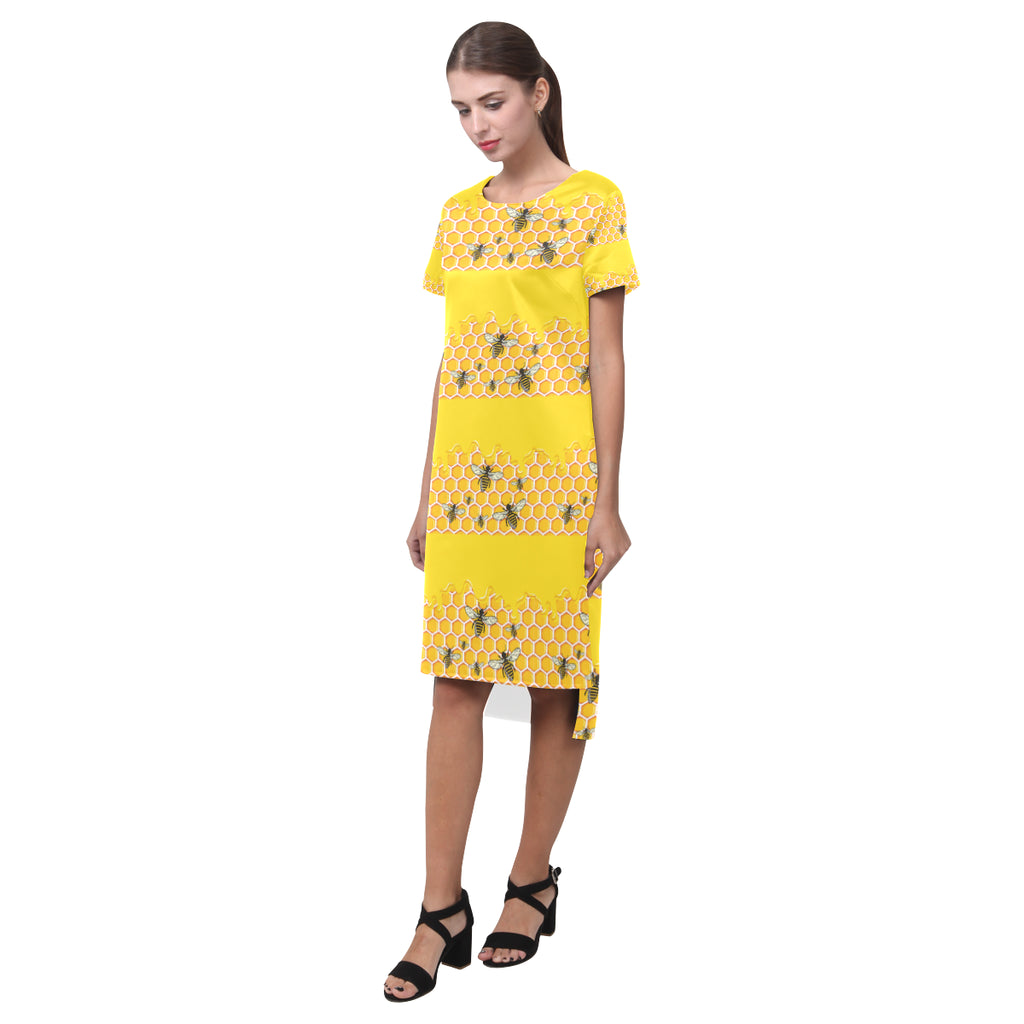 Bee Pattern Short Sleeves Casual Dress - TeeAmazing