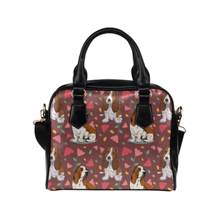 Basset Hound Flower Shoulder Handbag - TeeAmazing