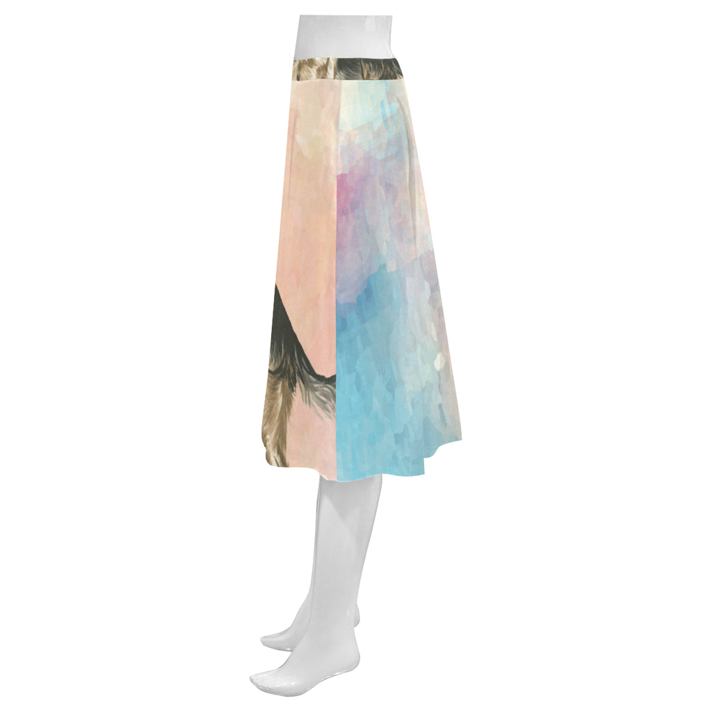 German Shepherd Water Colour No.1 Mnemosyne Women's Crepe Skirt (Model D16) - TeeAmazing