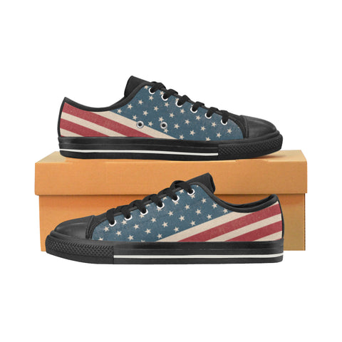 4th July V2 Black Men's Classic Canvas Shoes (Model 018) - TeeAmazing