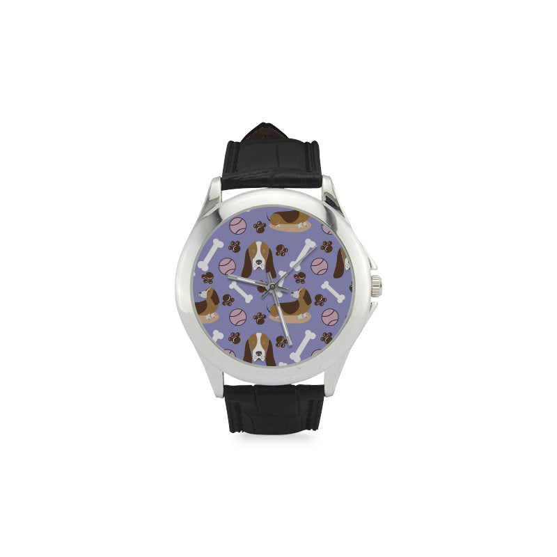 Basset Hound Pattern Women's Classic Leather Strap Watch - TeeAmazing