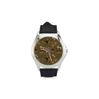 Border Terrier Pattern Women's Classic Leather Strap Watch - TeeAmazing