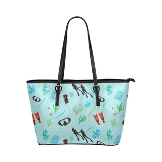 Marine Biologist Pattern Leather Tote Bag/Small - TeeAmazing