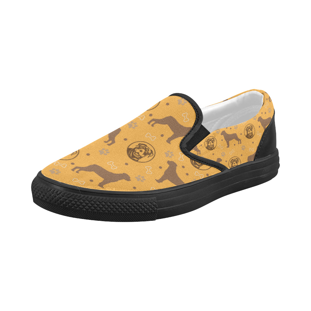 Rottweiler Pattern Black Women's Slip-on Canvas Shoes (Model 019) - TeeAmazing