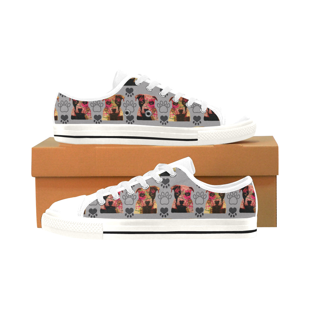 Pit Bull Pop Art Pattern No.1 White Men's Classic Canvas Shoes/Large Size - TeeAmazing
