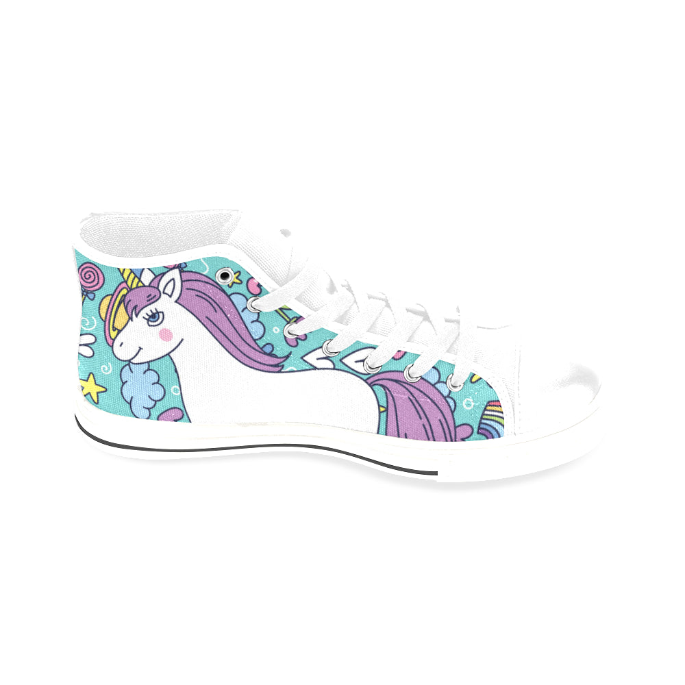 Unicorn White Men's Classic High Top Canvas Shoes /Large Size - TeeAmazing