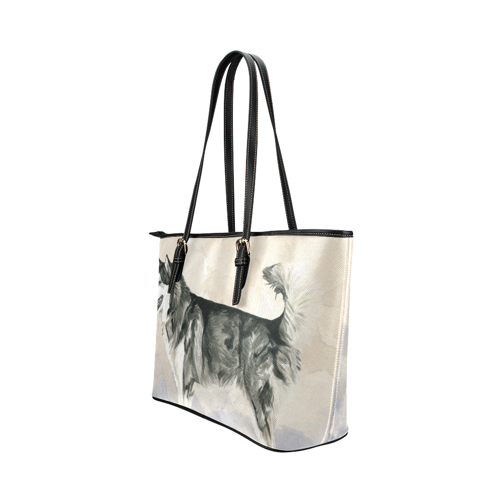 Alaskan Malamute Water Colour Leather Tote Bag/Small (Model 1651) - TeeAmazing