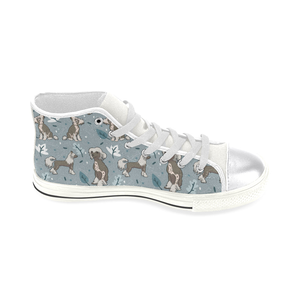 Chinese Crested White Women's Classic High Top Canvas Shoes - TeeAmazing
