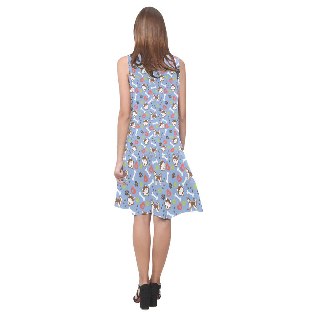 Alaskan Malamute Pattern Sleeveless Splicing Shift Dress - TeeAmazing