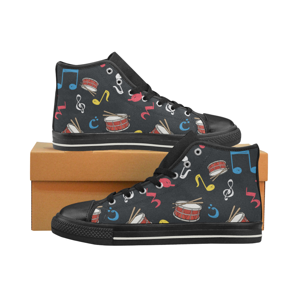 Snare Drum Pattern Black Women s Classic High Top Canvas Shoes - TeeAmazing 5815c3216a