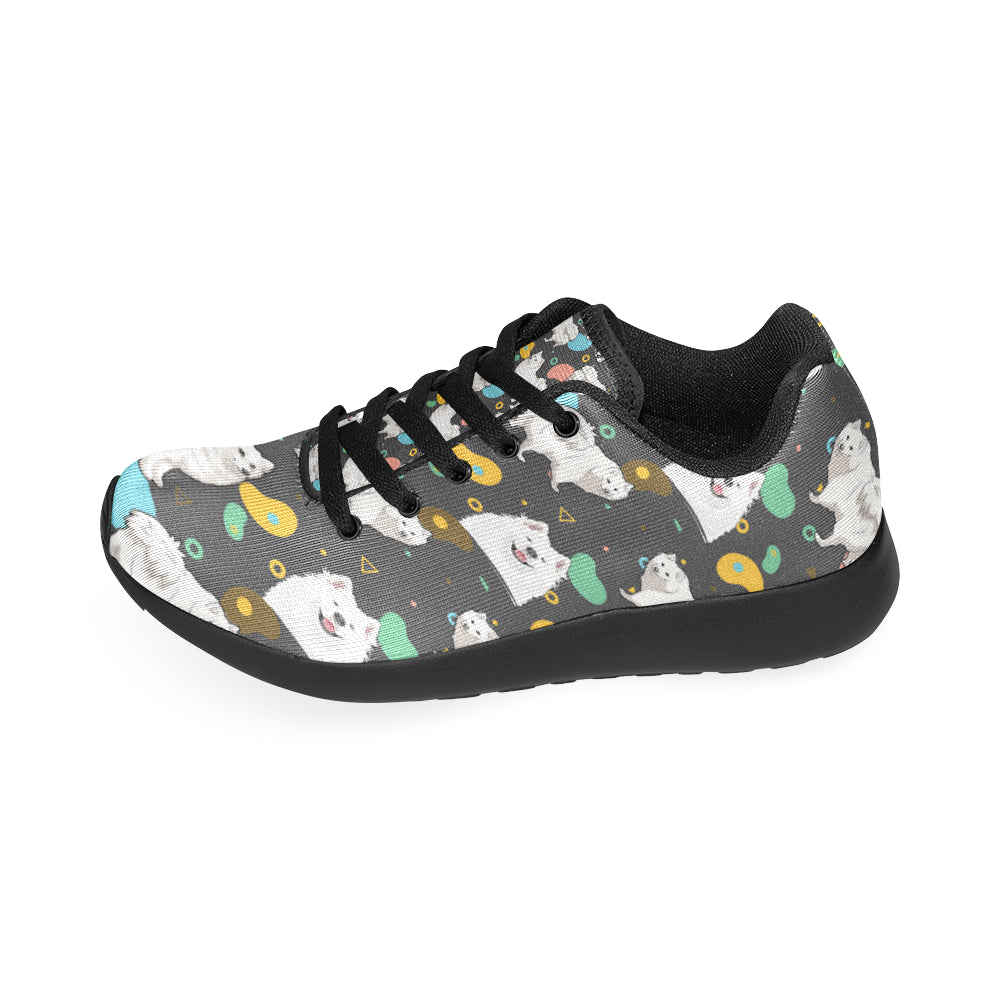 Samoyed Black Sneakers Size 13-15 for Men - TeeAmazing