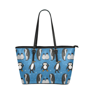 Penguin Leather Tote Bag/Small (Model 1651) - TeeAmazing