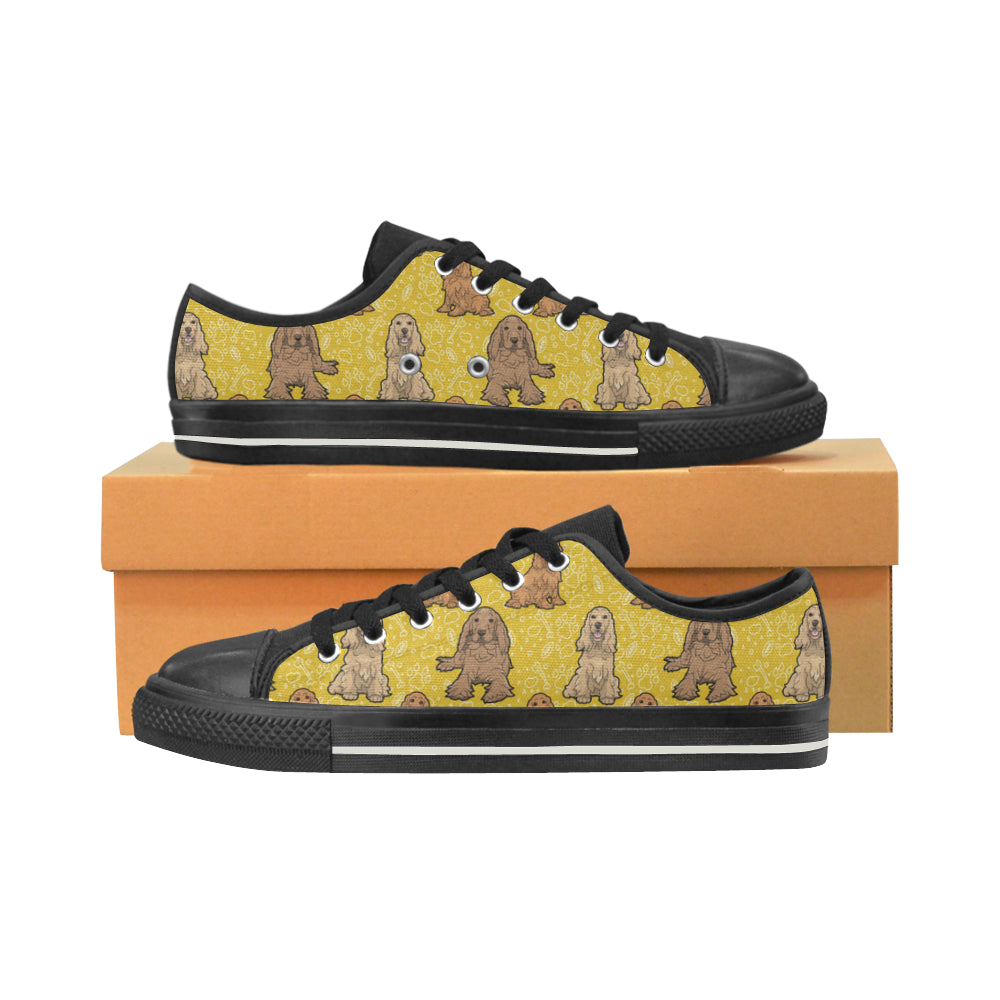Cocker Spaniel Black Low Top Canvas Shoes for Kid - TeeAmazing
