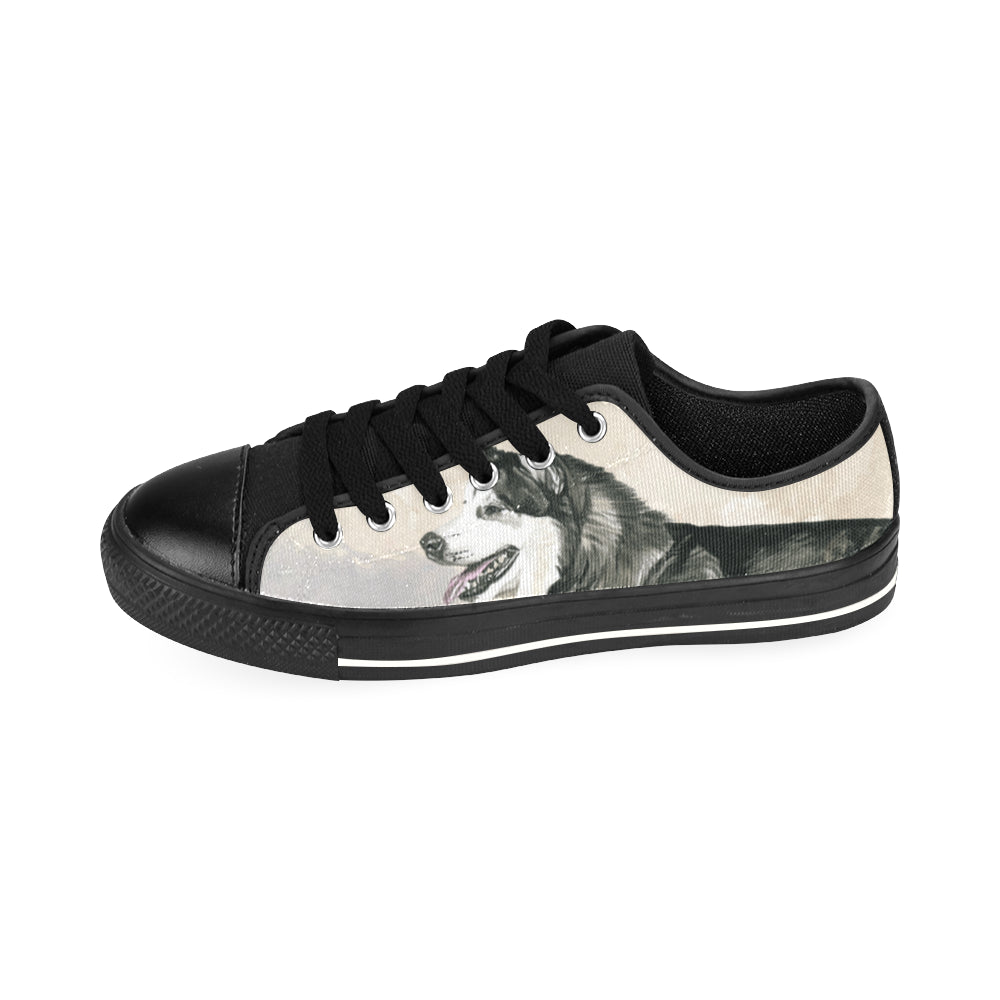 Alaskan Malamute Water Colour Black Men's Classic Canvas Shoes/Large Size - TeeAmazing