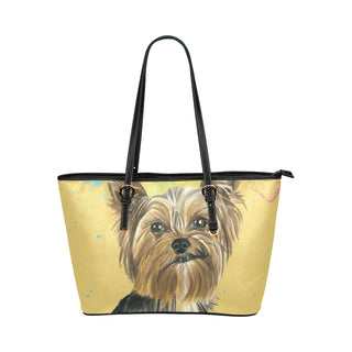 Yorkshire Terrier Water Colour No.1 Leather Tote Bag/Small (Model 1651) - TeeAmazing