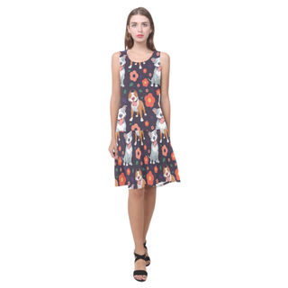 Pit bull Flower Sleeveless Splicing Shift Dress - TeeAmazing
