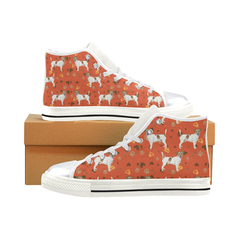 Jack Russell Terrier Water Colour Pattern No.1 White High Top Canvas Women's Shoes/Large Size - TeeAmazing